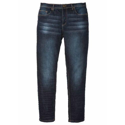 Spodnie męskie, Dżinsy ze stretchem Slim Fit Tapered bonprix ciemny denim