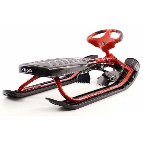 Pozostałe sporty zimowe, Nartosanki STIGA SNOWRACER ULTIMATE PRO czerwone - kierownica i hamulec