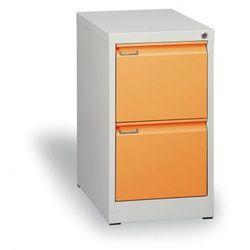 Szafa kartotekowa A4, 2 pomarańczowe szuflady, szary korpus