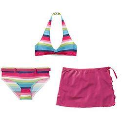 Bikini+spódniczka dziewczęce (3 cz.) bonprix ciemnoróżowy w paski
