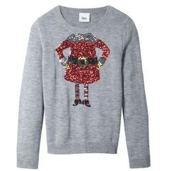 Sweter bożonarodzeniowy bonprix jasnoszary melanż
