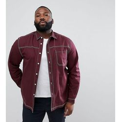 ASOS DESIGN Plus washed overshirt shirt with contrast stitching in burgundy - Red