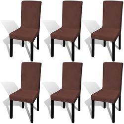 vidaXL Elastyczne pokrowce na krzesła w prostym stylu brąz 6 szt. Darmowa wysyłka i zwroty