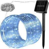 Ozdoby świąteczne, WĄŻ ŚWIETLNY SOLARNY 100 LED LAMPKI OGRODOWE ŚWIĄTECZNE ZIMNA BIEL - Biały (zimna biel)