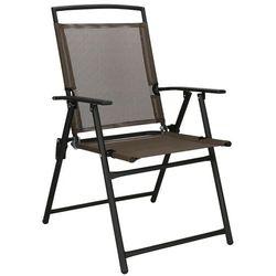 Krzesło ogrodowe z oparciem na balkon, tarasowe brązowo-czarne