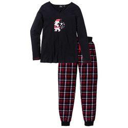 Piżama ze spodniami flanelowymi bonprix czarno-biało-czerwony z nadrukiem