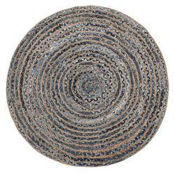 Dywan z juty okrągły ø 120 cm splot warkoczowy niebiesko-beżowy MASLAK