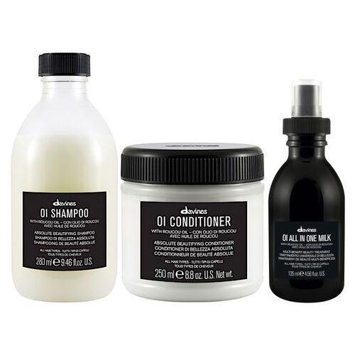 Mycie włosów, Davines OI Oil | Zestaw do każdego rodzaju włosów: szampon 280ml + odżywka 250ml + mleczko ułatwiające stylizację włosów 135ml