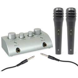 Skytec 2-kanałowy minimikser karaoke z 2 mikrofonami