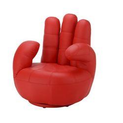 Fotel obrotowy w kształcie dłoni CATCHY z materiału skóropodobnego - Czerwony