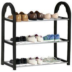 Regał na buty z metalowymi 3 półkami szafka czarny