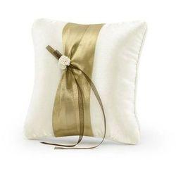 Poduszka pod obrączki kremowa ze złotą tasiemką - 1 szt.