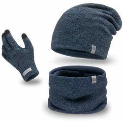 Komplet męski PaMaMi - czapka, komin i rękawiczki - Granatowa mulina