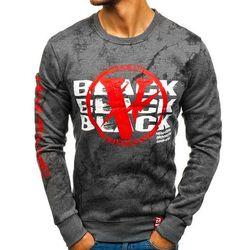 Bluza męska bez kaptura z nadrukiem grafitowa Denley DD225