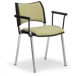 Krzesła konferencyjne SMART - chromowane nogi, z podłokietnikami, zielony