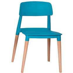 Krzesło plastikowe ECCO PREMIUM turkusowe - polipropylen, podstawa bukowa