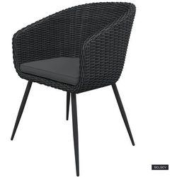 SELSEY Krzesło ogrodowe Kencur ciemny technorattan z ciemnoszarym siedziskiem