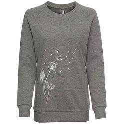 Bluza dresowa bonprix szary melanż z nadrukiem