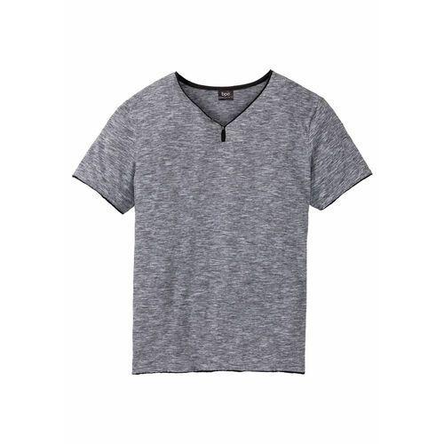 T-shirty męskie, T-shirt z dekoltem w serek bonprix czarny melanż