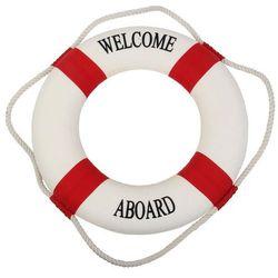Koło ratunkowe czerwone pasy, dekoracja Life buoy red 50 cm