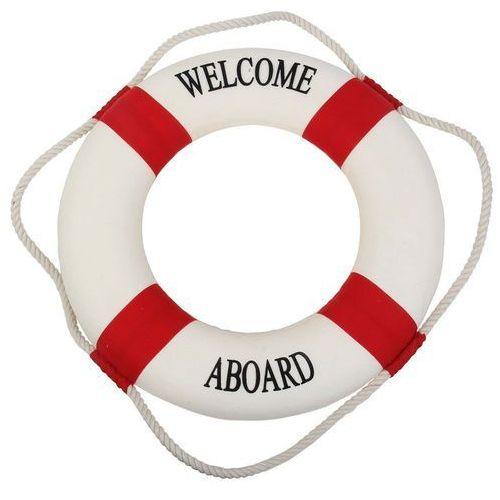 Kamizelki i pasy ratunkowe, Koło ratunkowe czerwone pasy, dekoracja Life buoy red 50 cm
