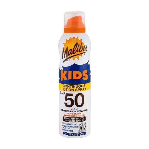 Kosmetyki z filtrem dla dzieci, Malibu Kids Continuous Lotion Spray SPF50 preparat do opalania ciała 175 ml dla dzieci