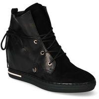 Damskie obuwie sportowe, Sneakersy Carinii B5706-H20-E50 Czarne zamsz+lico