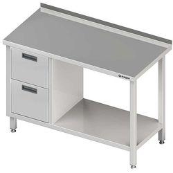 Stół przyścienny z blokiem dwóch szuflad po lewej stronie i półką 1000x700x850 mm | STALGAST, 980267100