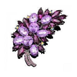 Broszka z fioletowymi kryształkami