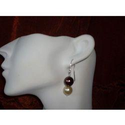 K-00009 Kolczyki z perełek szklanych, kremowych brązowych rabat 25%