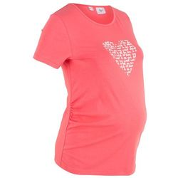 Shirt ciążowy z nadrukiem bonprix jasny koralowy
