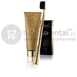 SWISS SMILE d'Or SET Toothpaste 75ml & Gold Toothbrush (E573) - ZESTAW - żel do pielęgnacji zębów z cząsteczkami złota + szczoteczka z włosiem Curen