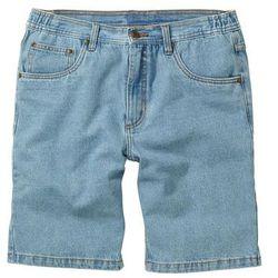 """Bermudy dżinsowe z elastycznym paskiem po bokach Classic Fit bonprix niebieski """"bleached"""