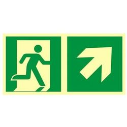 znak kierunek do wyjścia ewakuacyjnego w górę w prawo