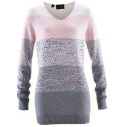 Długi sweter Premium z kaszmirem bonprix pastelowy jasnoróżowy - szary melanż