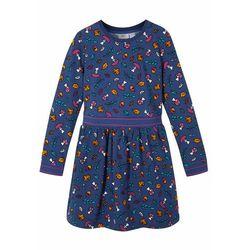 Sukienka dresowa dziewczęca, bawełna organiczna bonprix niebieski z nadrukiem
