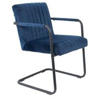 Fotele, Dutchbone Fotel STITCHED velvet granatowy 1200181