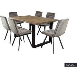 SELSEY Stół Lemucto dąb olejowany dymiony 160x95 cm z sześcioma krzesłami Kimmy ciemnoszarymi
