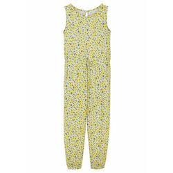 Kombinezon dziewczęcy z dżerseju, bawełna organiczna bonprix pudrowy niebieski - żółty ananasowy w kwiaty