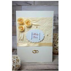 Kartka Ślubna Ecru z trzema różyczkami