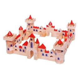 Klocki zamek, w drewnianej skrzynce, 145 el.
