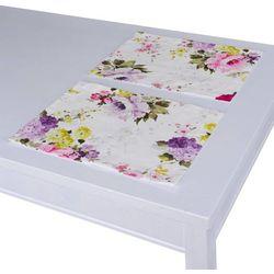 Dekoria Podkładka 2 sztuki, fioletowo-różowe kwiaty na białym tle, 30x40 cm, Monet