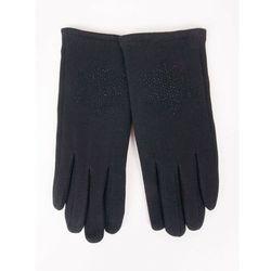 Rękawiczki dziewczęce dzianinowe czarne ozdobne kamyczki 21