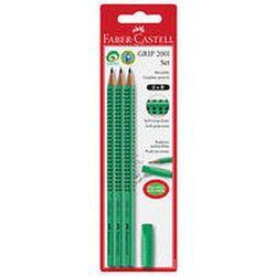 Grip 2001 Set Zielony 3X Ołówek+Gumka Nakładka Blister Faber-Castell