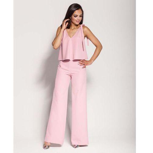 Spodnie damskie, Różowe Spodnie z Szerokimi Nogawkami