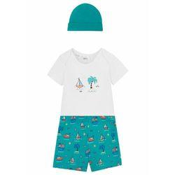 Body niemowlęce + krótkie spodnie + czapka (3 części), bawełna organiczna bonprix szmaragdowo-biały