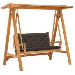 vidaXL Huśtawka ogrodowa z poduszką taupe, 170 cm, drewno tekowe