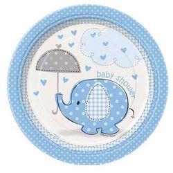 Talerzyki na Baby Shower Słonik z parasolem dla chłopca - 23 cm - 8 szt.