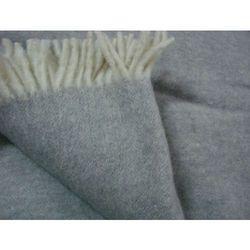 Koc wełniany 100% wełna jednobarwny z frędzlami szary