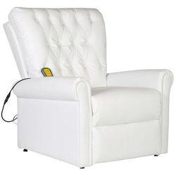 vidaXL Elektryczny fotel masujący z eko-skóry, regulowany, biały Darmowa wysyłka i zwroty